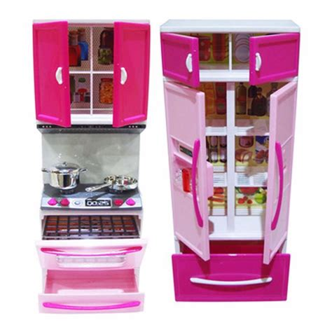 hot kids kitchen toy led light stove oven refrigerator cute pink plastic educational pretend