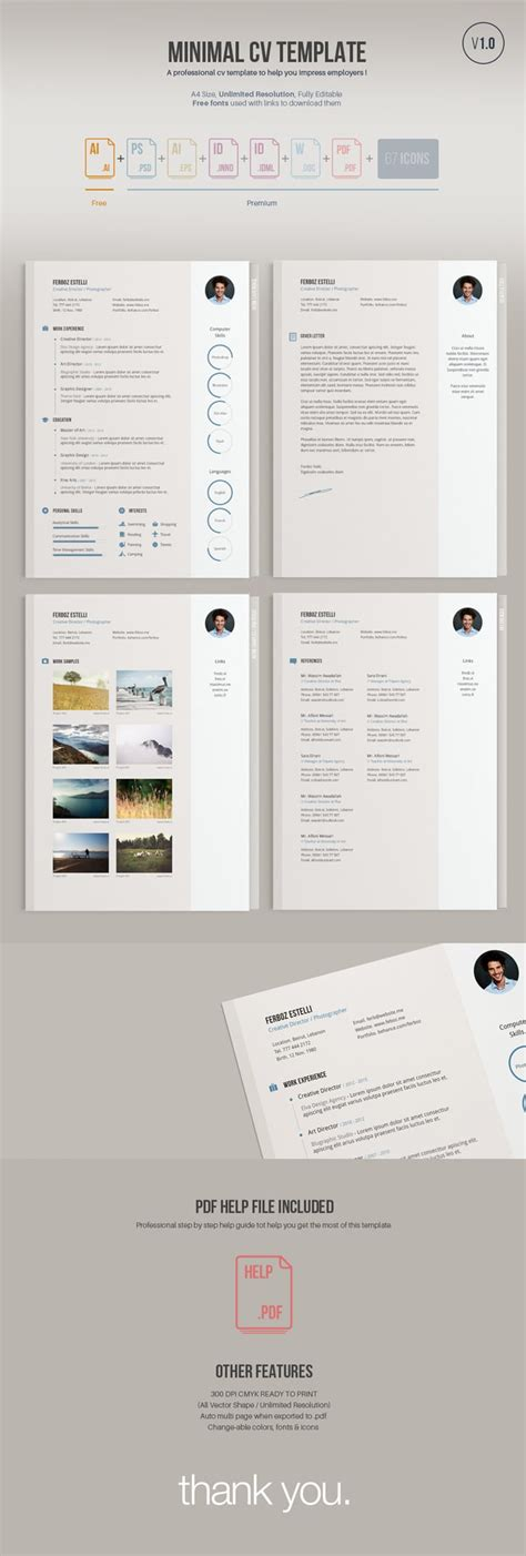 free minimal templates 55 amazing graphic design resume templates to win