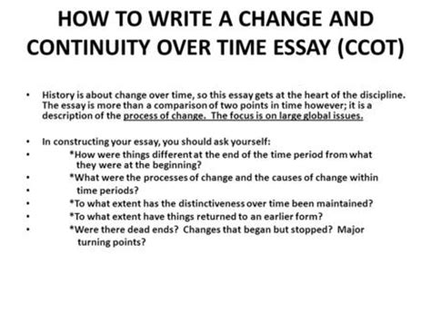 Ccot Essay Exles by Continuity And Change Time Essay Ppt