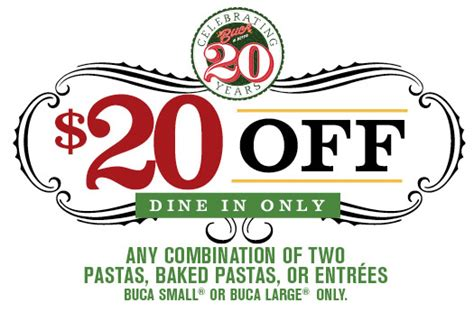 printable restaurant coupons honolulu buca di beppo italian restaurant printable coupon for 20