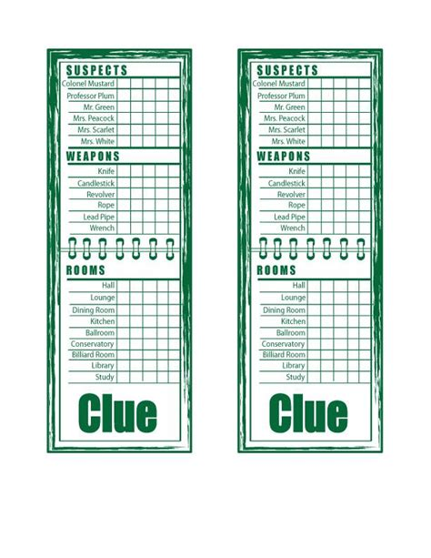 clue suspect card template clue sheets printable clue