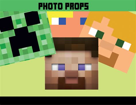printable minecraft photo booth props 8 bit photo props minecraft decoration ideas instant