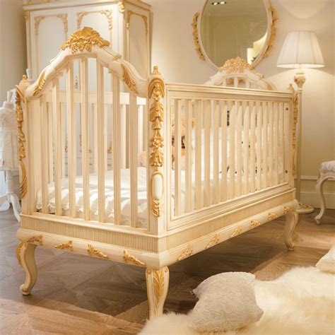 luxury wooden baby crib royal golden carving new