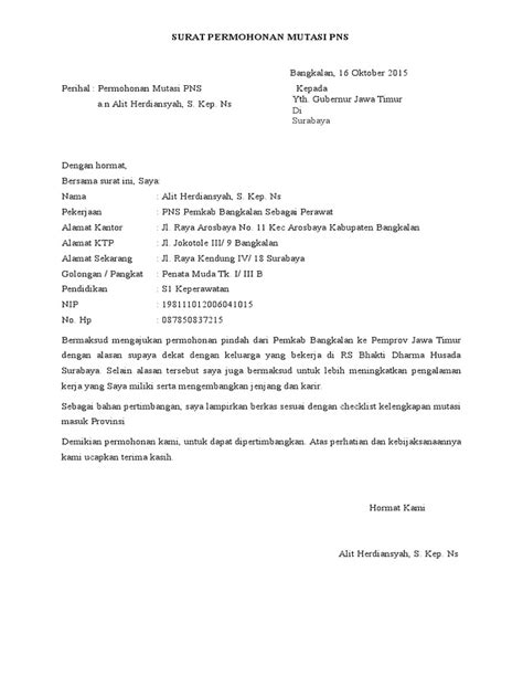 Contoh Surat Permohonan Pindah Tugas Pns Doc - Berbagi