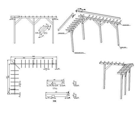 tende dwg pergola construction details cad drawing cadblocksfree