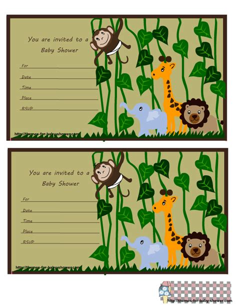 jungle themed baby shower invitations gangcraft net