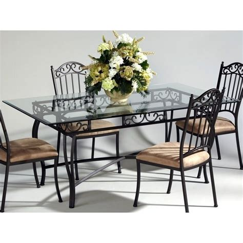 wrought iron glass top kitchen table chintaly rectangular glass top wrought iron dining table
