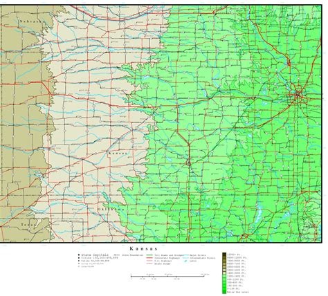 kansas state map kansas elevation map