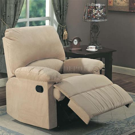 light brown microfiber modern recliner chair w pillow arms