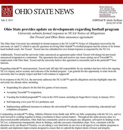 Release Letter Ncaa Ohio State S Response To Ncaa Notice Of Allegations Against Football Program Cleveland