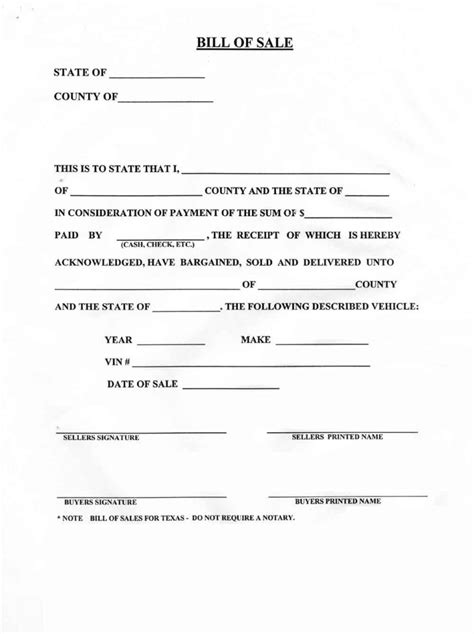 Blank Bill Of Sale For A Car Form Download Pictures Of How Free Bill Of Sale Template Ga