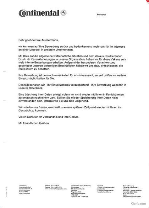 Absage Bewerbung Email Vorlage muster vorlage f 252 r die absage einer bewerbung f 252 r einen