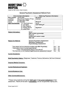 psychiatric assessment template fill online printable