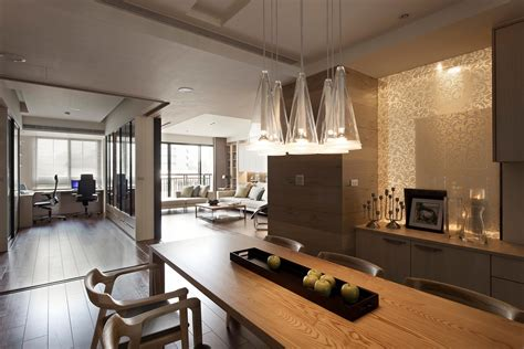 interior kitchen decoration apartment with a retractable interior wall