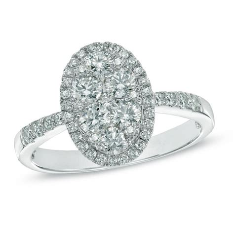 1 ct t w composite oval frame engagement ring in