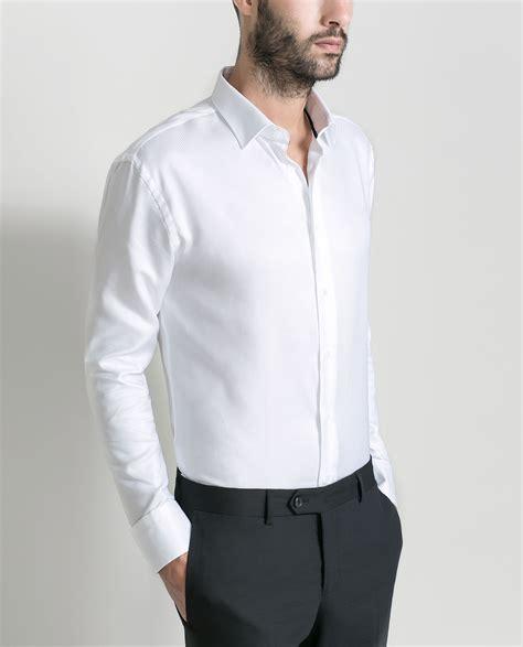 Zaraman Cotton Shirt zara plain structured shirt in white for lyst