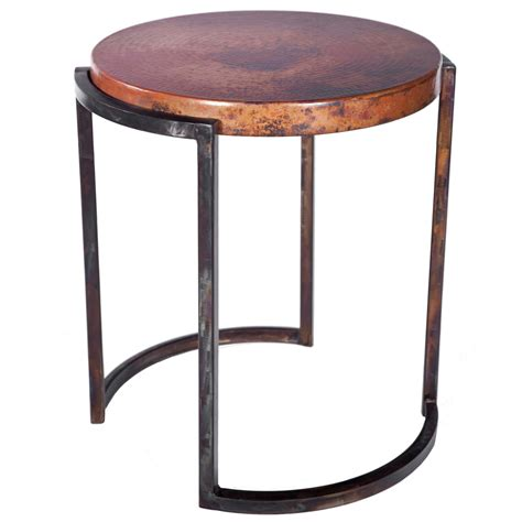 wrought iron accent tables upper avenue iron end table with copper top