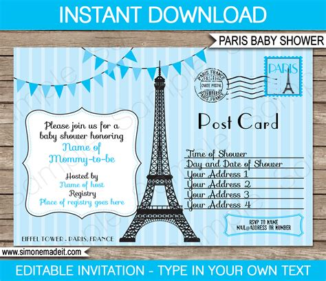 Blue Paris Baby Shower Invitation Printable Template Baby Shower Text Template