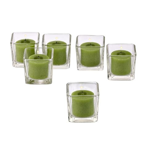 green votive holders light in the clear glass square votive candle holders