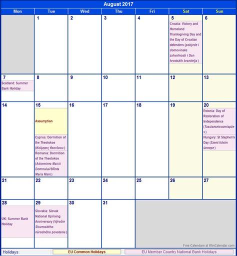 printable december 2017 calendar wincalendar august 2017 eu calendar with holidays for printing image