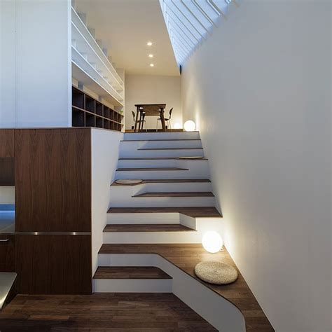 Japanese Stairs Design Asymmetric Staircase Incorporates Sitting Areas Captivatist
