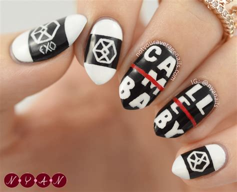tutorial nail art exo n y a nails call me baby