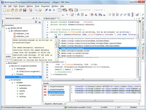 oracle xquery tutorial oracle berkeley db xml support oxygen xml editor
