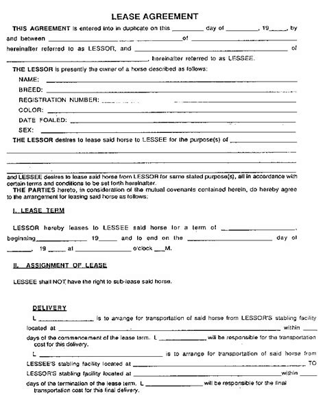 template of a lease agreement lease agreement template company documents