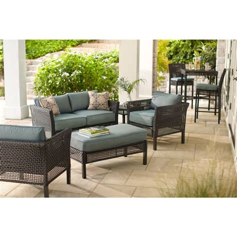 sofa springs home depot hton bay fenton 4 wicker outdoor patio seating