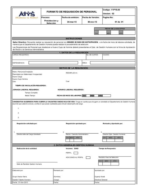 departamento de compra formatos de requisici 243 n y orden de formato de requisicion formato requisicion de personal