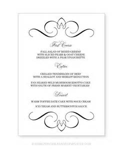 menu template free printable free printable wedding menu templates