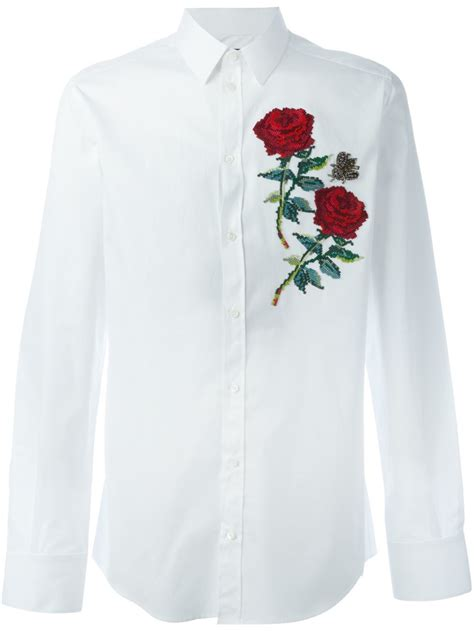 shirts for dolce gabbana appliqu 233 shirt in white for lyst