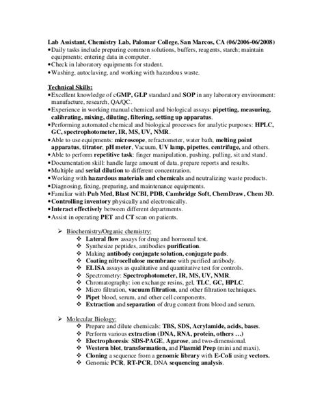 Sle Resume Assistant Mechanic Skills sle resume technologist 28 images chemical lab