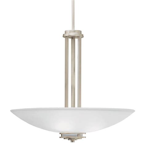 Kichler Lighting Hendrik Kichler 3275ni Brushed Nickel Hendrik 3 Light 24 Quot Wide Pendant With Satin Etched Glass Shades