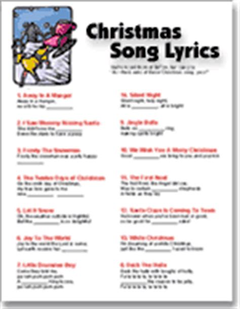 printable christmas song lyric games free printable christmas songs game new calendar