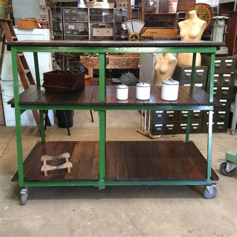 bench cafe industrial vintage timber rustic 3 tier shelving bench