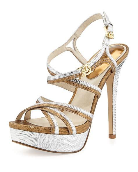 michael kors platform sandal michael michael kors cicely platform sandal in gold