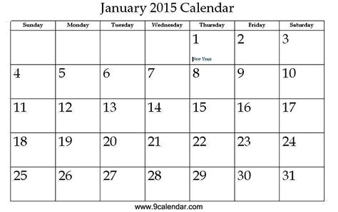 printable monthly calendar january 2015 image gallery january 2015 calendar template