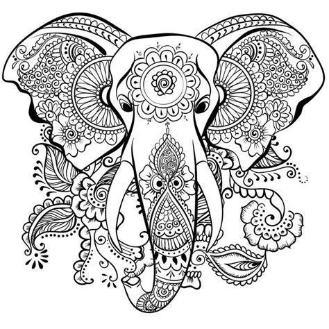 elephant mandala henna coloring page coloring outside