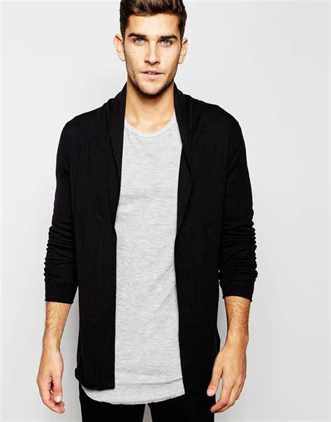 mens drape cardigan selected open drapey cardigan in black for men lyst