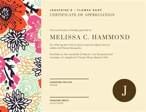 floral design certificate edmonton floral design certification appreciation certificate