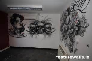 Airbrush Wall Murals tattoo parlor studio murals airbrushed hand painted tattoo designs on
