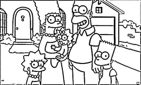 simpsons house coloring page bart homer lisa and marge simpsons coloring pages 215809