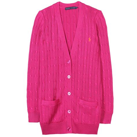 cable knit cardigans lyst ralph cable knit cardigan in pink