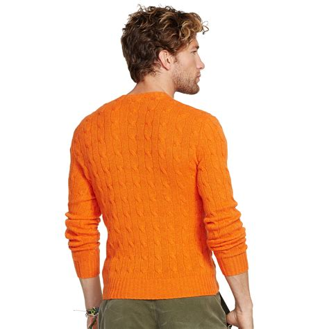 orange cable knit sweater polo ralph cable knit sweater in orange