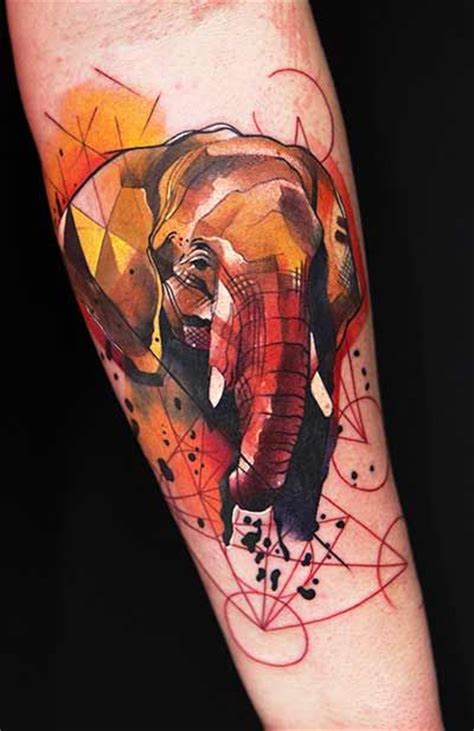 geometric tattoo california elephant tattoo by ivana i love this cubism esque style