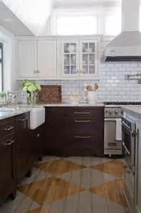 Kitchen Cabinets White Top Black Bottom Subway Tiles With Grey Grout Design Ideas