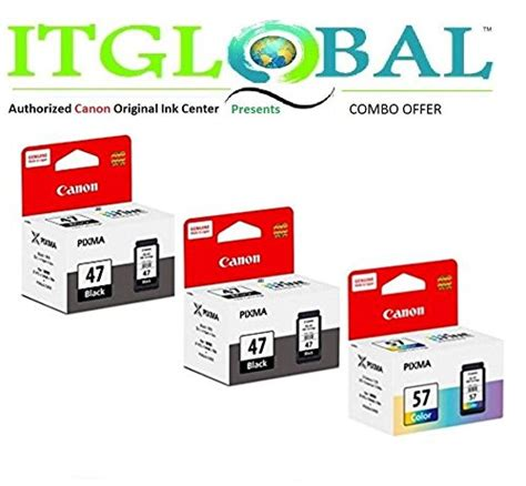 Paketan Canon Pg 47 Cl 57 Original canon pg 47 black cl 57 color set of 3 cartridge special itglobal combo offer from