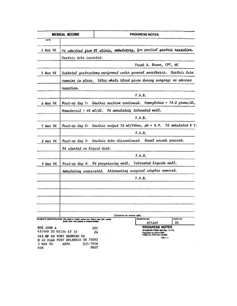 nurses notes template 7 best images of printable nursing note progress notes