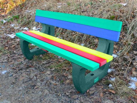 recycled garden bench colne multicoloured rainbow bench recycled plastic